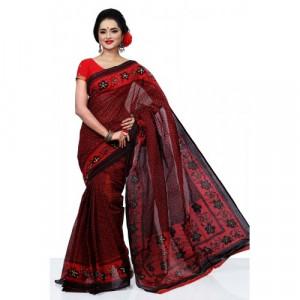 Beautiful Deshi Sharee - 1030 - Maroon with Whole Body Design