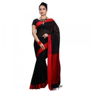 Cotton Chumki Sharee Black+Red for Women