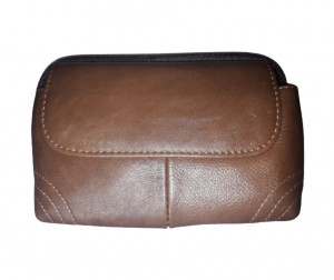 Leather 02 Zippers-03 Pockets Push Button Bag