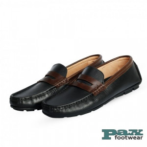 PAX Leathers Loafer Leather Shoe Black & Chocolate for Men