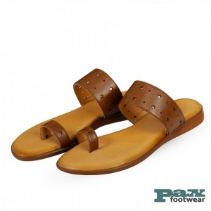 Paxleathers 100% Genuine Leather Sandal Light Brown For Women