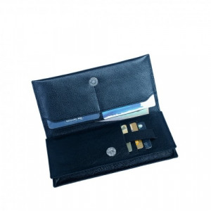 Leather Premium Purse 100% Genuine Leather Mens Wallet Blue (PW-285)