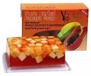 YC Pure Herbal Papaya Skin Whitener 4 in 1 Soap 100G