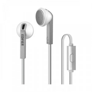 Edifier P190 Hi-Fi Sound Comfortable Fit Wired White Silver Earphones With Microphone